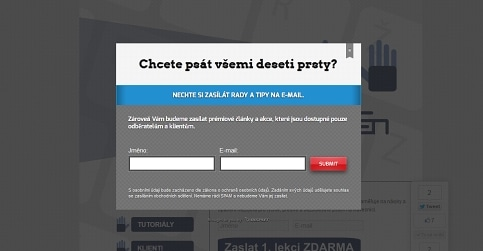 Pop-up sběr kontaktů