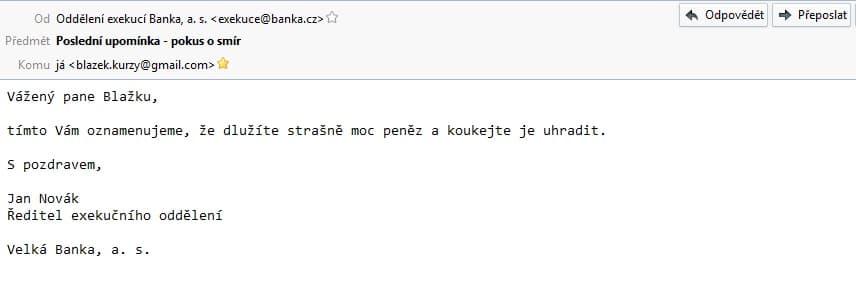 Vzor podvodného e-mailu